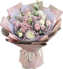 22朵粉雪山玫瑰11朵白玫瑰