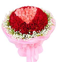 用心爱你:99枝精品玫瑰花束