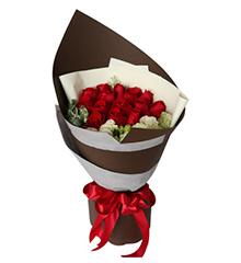 咖啡心情:16枝红玫瑰,叶上花,白色桔梗