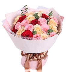梦想缤纷:戴安娜粉玫瑰11枝+香槟玫瑰13+红玫瑰5枝