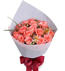 夏日恋曲:粉玫瑰18枝,搭配适量水仙百合