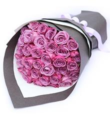 醇美绽放:36枝紫玫瑰