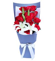 深情密码:16枝红玫瑰,多头白色百合1枝
