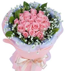 相爱时光:19枝粉玫瑰,绿叶和满天星适量