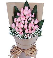 淳美之爱:33枝粉玫瑰,搭配巴西叶+满天星