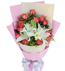 天天想你:12枝粉玫瑰,搭配白香水百合