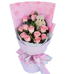 爱的天使:11朵顶级粉玫瑰花束+小熊