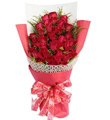 恋你三世:33朵顶级红玫瑰,适量黄莺
