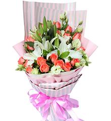 夏日的梦想:19枝粉玫瑰,3枝白香水百合