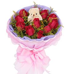 最美:11枝红玫瑰,5寸小熊一只