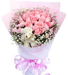 与你一见倾心:19枝粉玫瑰,5寸小熊一只