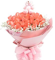 一见钟情:33枝粉玫瑰,5寸小熊一只