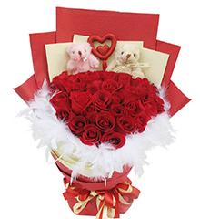 永相伴:36枝红玫瑰,5寸小熊2只
