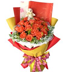俏佳人:19枝粉红色玫瑰,5寸小熊一只