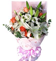 美丽相伴:6枝粉玫瑰,3枝白香水百合