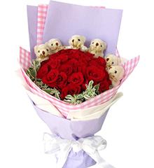 幸福环绕:25枝红玫瑰,6只五寸小熊