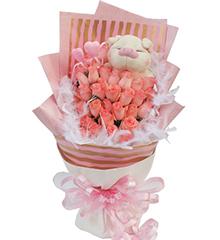 拥抱幸福:33枝粉玫瑰