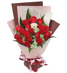 陪伴在你身边:19枝红玫瑰,5寸小熊一只