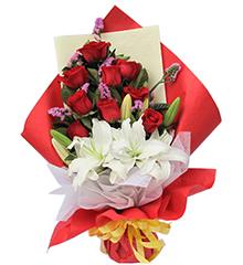 恋曲:红玫瑰9枝,白香水百合2枝