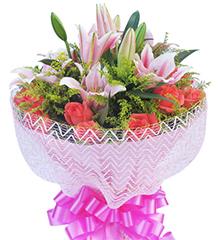 幸福乐园:16枝粉玫瑰,3枝多头粉香水百合