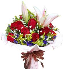邂逅:11枝红玫瑰,1枝多头粉香水百合
