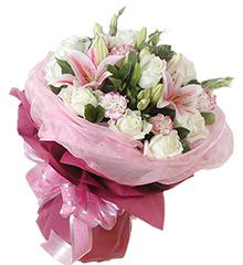 想念情怀:粉香水百合2枝,白玫瑰12枝
