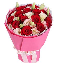 爱你的季节:红玫瑰16枝,香槟色桔梗6枝