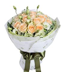 为你等候:19枝香槟玫瑰,绿色桔梗6枝