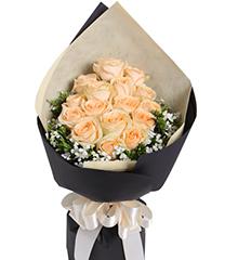 欢沁:香槟玫瑰16枝