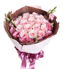 天使的心跳:粉佳人粉玫瑰19枝,粉色桔梗6枝