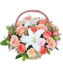 幸福时光:粉玫瑰9枝,香槟玫瑰9枝,多头香水百合1枝