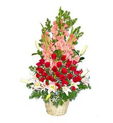 绽放的季节:9枝粉色香水百合,29枝红玫瑰,15枝粉色剑兰