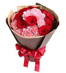 你的笑靥:13枝粉康乃馨,9枝红玫瑰