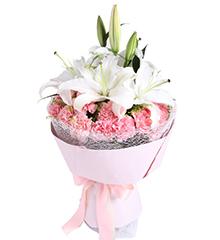 爱的祝福:2枝白香水百合,19枝粉康乃馨