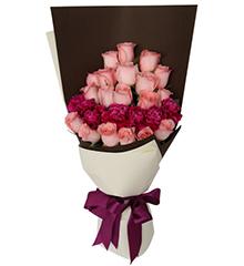 午后阳光:19枝戴安娜粉玫瑰,8枝紫色康乃馨