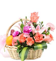 温馨祝福(水果花篮):粉香水百合1枝,粉玫瑰8枝