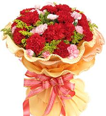 母爱赞歌:11枝红色康乃馨,多头小粉康