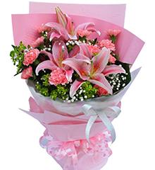 春暖花开:2枝多头粉香水百合,11枝粉康乃馨