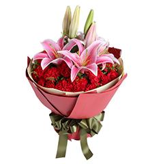 感激:29枝红康乃馨,2枝粉百合