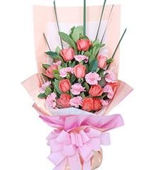 幸福像花儿一样:11枝粉玫瑰,11枝粉康乃馨