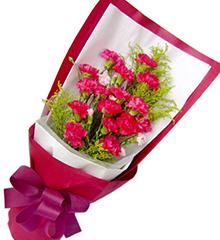 感恩:桃红色(或红色)康乃馨16枝,黄莺5枝