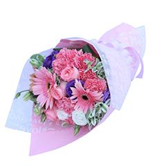 粉色童话:11枝粉色康乃馨,戴安娜粉玫瑰3枝,粉色扶郎3枝,紫色白色桔梗
