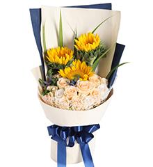 阳光满溢:香槟玫瑰19枝,向日葵3枝