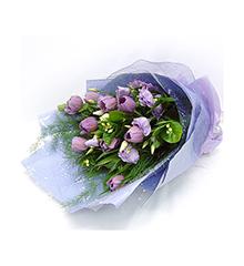 紫色情迷:10枝紫色郁金香花束
