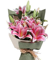 梦花园:多头粉色香水百合6枝