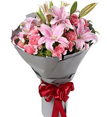 一直守候:粉色多头百合2枝 粉色康乃馨11枝