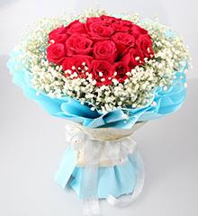 真诚的爱:21朵昆明红玫瑰