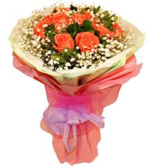 一心一意:11枝粉玫瑰
