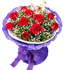 一辈子爱你:11枝红玫瑰+1只小熊