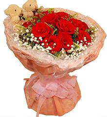 幸福滋味:13红玫瑰+2枝小熊